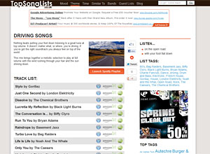 Top Song Lists Screenshot